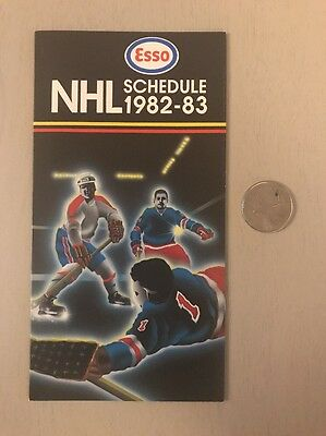 1982-83 Nhl Esso Pocket Schedule