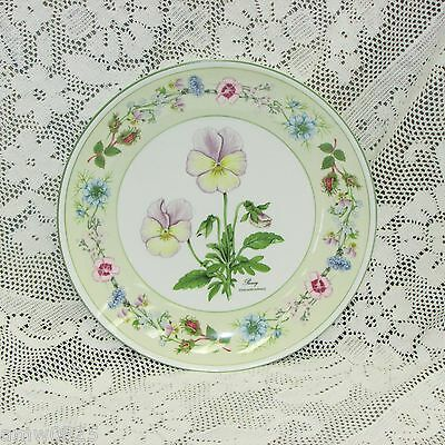 """Aynsley Wild Tudor Pansy Coupe Accent Salad Plate England 8 1/4"""" Floral Display"""