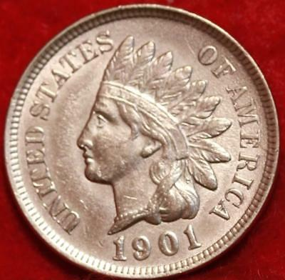 Uncirculated 1901 Philadelphia Mint Red Copper Indian Head Cent Free S/H