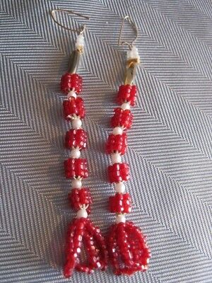 Vintage Native Indian Long Red Seed Bead Earrings Beautiful