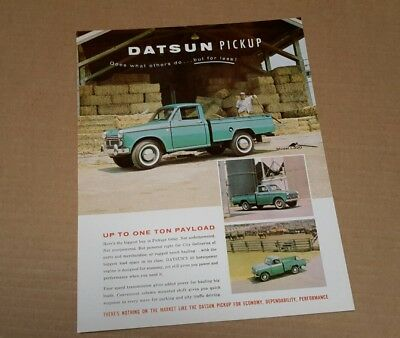 Datsun Truck Brochure Sheet Sports Pickup PU  L320 60 HP nos rare  60s Nissan
