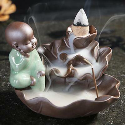 Little Monk Incense Burner Ceramic Backflow Cone Stick Holder Ash Catcher #3