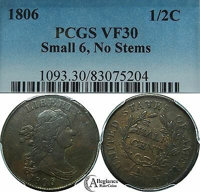 1806 1/2c Draped Bust Half Cent PCGS VF30 Small 6, no stems stemless rare coin