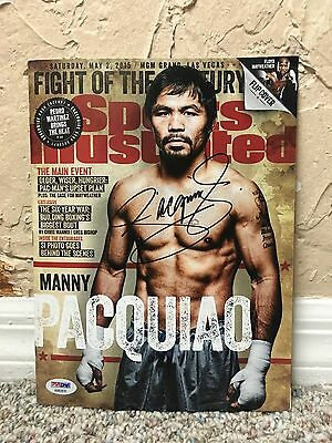 """MANNY """"PACMAN"""" PACQUIAO SIGNED AUTO SPORTS ILLUSTRATED MAY 2015 Mayweather PSA"""
