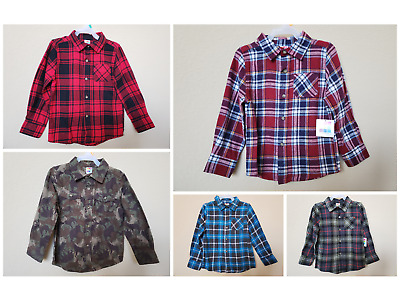 *NWT- HEALTHEX - INFANT BOY'S LS PLAID FLANNEL SHIRT with 2 POCKETS
