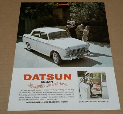 Datsun Bluebird PL312 312 Sedan US Brochure sheet early 60s 1963 rare NOS