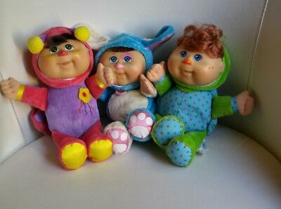 Cabbage Patch Kid Babies dressed as Bunny Rabbit, Ladybug and Turtle Plush.
