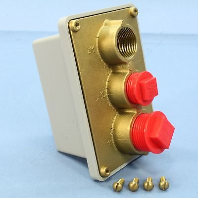 """New P&S BRASS Swimming Pool Junction Box Thermoplastic Base 3/4"""" 1"""" Holes WPBJ22"""