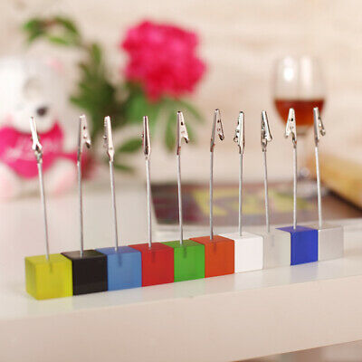 Acrylic Cube Resin Photo Memo Holders Table Decorative Card Picture Wire Stands