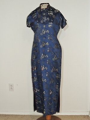 1950's Blue Silk Brocade Cheongsam / Dress MED
