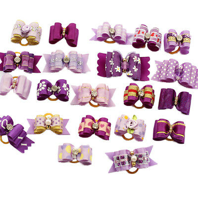 10Pcs Purple bowknot Pet Dog Hair Bows Puppy Grooming Accessories Rubber Bands