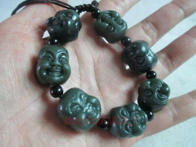 Old China xinjiang hotan jade double Buddha bracelet, can scale CZ140