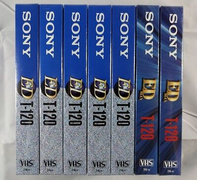 Lot of 7 Blank VHS Cassette Tapes Sony T-120 ED/ED MAX - NEW SEALED