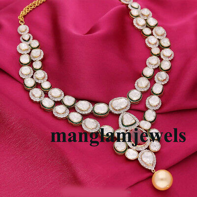 Admirable! 18k Rosecut Diamond ! Natural Polki & Ruby Necklace ! Jewelry ! Gift