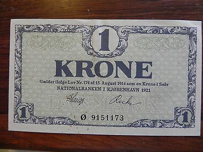 Denmark 1 Krone Banknote 1921 Choice About Uncirculated Condition