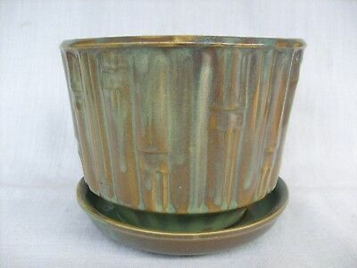 McCoy 0374 Bamboo Flower Pot ~ Brown/Green w/ Attached Saucer