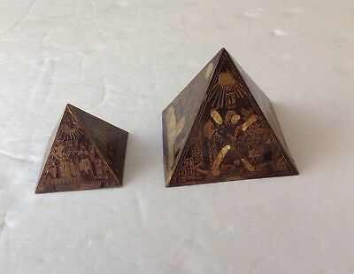Vintage Pair (2)  Etched PYRAMIDS Brass/Bronze  Large & Small