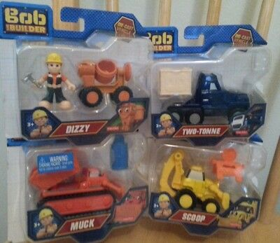 Bob The Builder Take Along Die-Cast SET of 4 Dizzy Scoop Two-Tonne Fisher Price