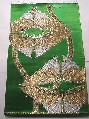 """Gold and Silver Butterfly Vtg OBI Silk Fabric Japan 18"""" ~NR 8398"""