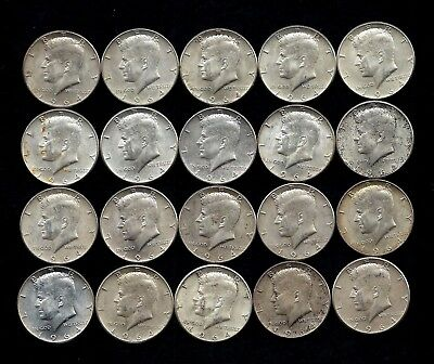 One Roll 1964 Kennedy Half Dollars 90% Silver (20 Coins)   Lot B56