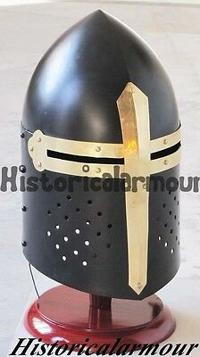 Medieval Black Knight Sugarloaf Armour Helmet Wooden Stand Reenactment Wdh58