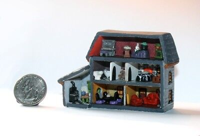 ooak Miniature Sculpted Halloween FURNISHED DOLLHOUSE by Demy Micro Witches Brew