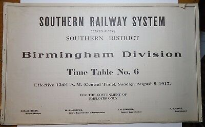 Southern Railway 1917 Employee Timetable -  Southern District