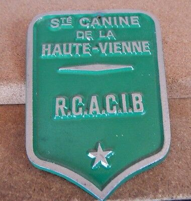 French Society of Canines Haute Vienne aluminium plaque