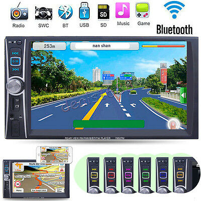 "7"" Double 2Din Touch Bluetooth Car Stereo MP3 MP5 Player HD In Dash TV Radio FM"
