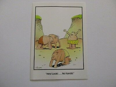 """Vintage 1981 The FAR SIDE Greeting Card """"HEY!  Look! ...No hands!"""""""
