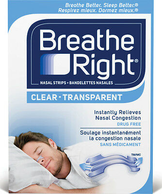 Breathe Right Instant Relief Nasal Congestion Clear Transparent Medium 30 Strips