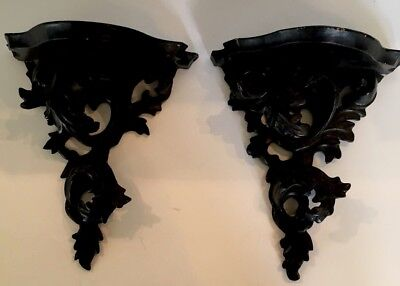 Pair Of Vintage Italian Carved Wood Black Rococo Wall Brackets