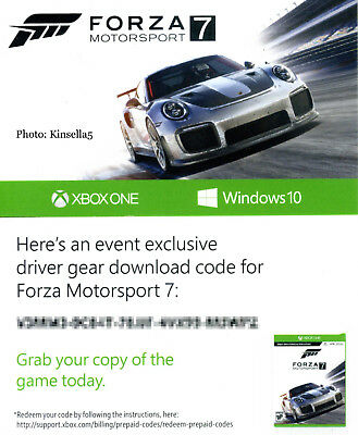 FORZA MOTORSPORT 7 Driver Gear E3 Exclusive XBOX One or PC