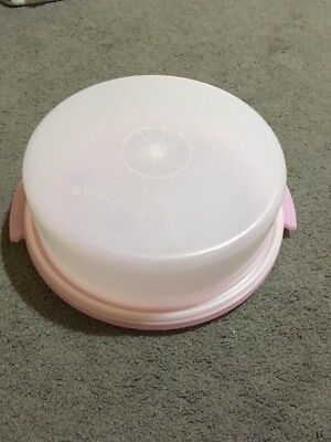 Pink And White Vintage Tupperware Cake Container + Lid