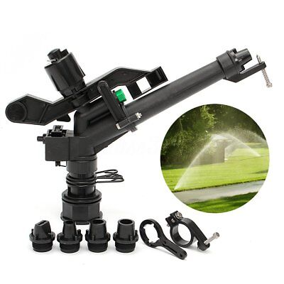 "5.5"" Plastic Irrigation Garden Impact Lawn Sprinkler Gun + 5 Spray Nozzles Head"