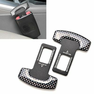 2x Universal Carbon Fiber Car Safety Seat Belt Buckle Alarm Stopper Clip Clamp&