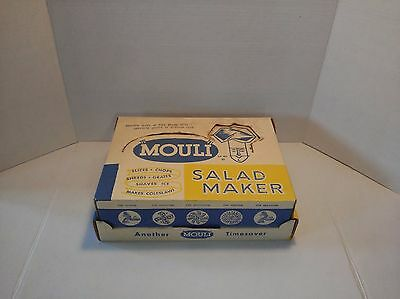 Vintage  MOULI Salad Make Slice Chop Shred Grate 5 Discs France in Box