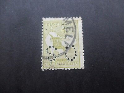 Kangaroo Stamps: 3d Olive Perf OS Inverted Watermark  3rd Watermark Used  (A31)