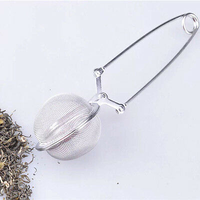 Stainless Steel Spoon Tea Ball Infuser Filter Squeeze Leaves Herb MeshStrainerPW