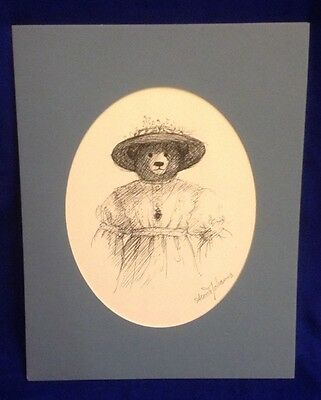 ANOUK JOHANNA Mother Bear In Victorian Dress Print Original Signature 14x11