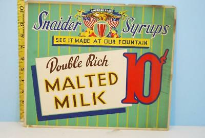 Vintage Snaider Syrups Cardboard Sign Double Rich Malted Milk Fountain Drink