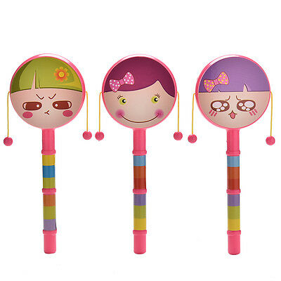 1X Rattle Drum Smile Baby Kid Percussion Educational Musical Instrument Toy PH