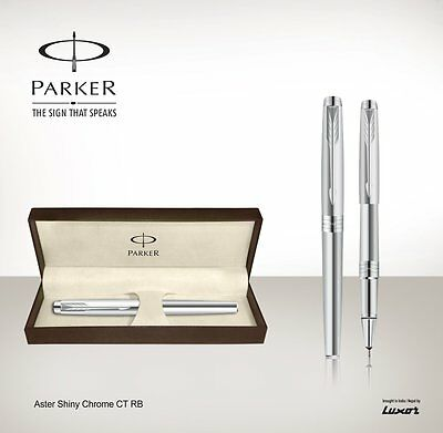 Parker Premium Aster Shiny Chrome CT (Chrome Trim) Rollerball Pen NEW LAUNCH