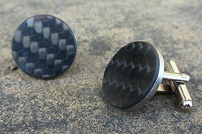 Wholesale 10 x real carbon fibre cufflinks guys mans car driving gift shop stock
