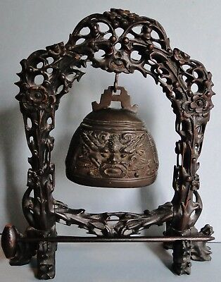 Antique Finely Crafted Chinese Table Gong Carved Stand Bronze Bell Qing 1870