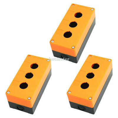 "3Pcs Three Hole 22mm0.87""Dia Protective Push Button Switch Box Case Orange Black"