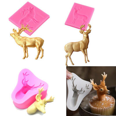 Home 3D Chocolate Silicone Fondant Cake Mold Deer Shape Christmas Elk Mould