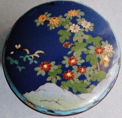 Fine Antique Japanese Silver Wire Cloisonne Covered Box Floral Padded Meiji 1890