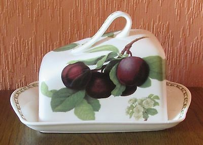 """Queen's """"Hooker's Fruit"""" Fine Bone China Cheese Dish with Plums and Pears."""