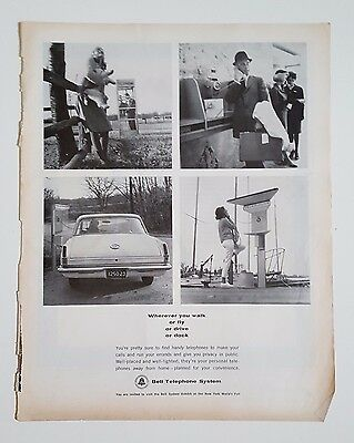 Vintage Advertisement 1964 Post Bell Telephone System Public Telephone